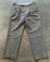 Louis Raphael Wool Plaid Tailored Trousers Slacks Dress Pants Mens Size 36X30