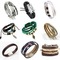 61 Styles Leather Wrap Braided Wristband Cuff Punk Men Women Bracelet Bangle