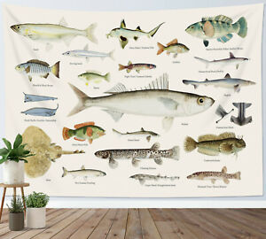 Fish Tapestry Illustrative Reference Chart Wall Hanging Home Bedspread Cover