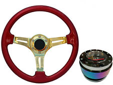 Red Gold TS Steering Wheel + Neo Quick Release boss NCh for RENAULT