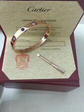 %^^Cartier Authentic 18K Rose Gold 10 Diamond Love Bracelet New Size 17