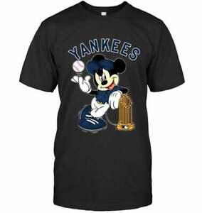 New York Yankees Mickey Mlb Champions Shirt Funny Black Cotton Tee Gift Men hot