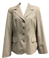 Talbots Blazer Womens 12 Tan Wool Blend Fitted Lined Career Business Jacket