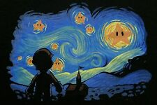 """Super Starry Night"" Mario Gogh Mashup Men's XXL Shirt Shirtpunch"