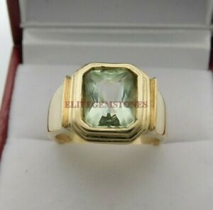 Natural Green Amethyst with Gold Plated 925 Sterling Silver Ring for Men's EG140