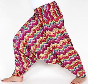 Haremshose Aladinhose aus Indien Pinktöne Einheitsgröße Pumphose Goa Handarbeit