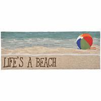 "AREA RUGS - LIFE'S A BEACH INDOOR OUTDOOR RUG - 24""' x 60"" RUNNER - BEACH DECOR"