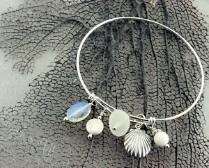 NEW! Sterling Silver Adjustable Charm Bracelet with White Genuine Sea Glass