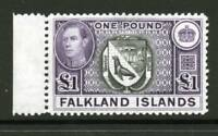 FALKLAND ISLANDS George VI £1 38 Ptg. SG163v MNH, Heijtz93b second Ptg. Cat £250