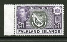 FALKLAND ISLANDS George VI £1 38 Ptg. SG163v MNH, Heijtz93b second Ptg. Cat £250