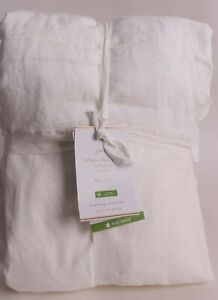 """Pottery Barn Belgian Flax Linen bed skirt, King, white, 14"""" drop *washed*"""