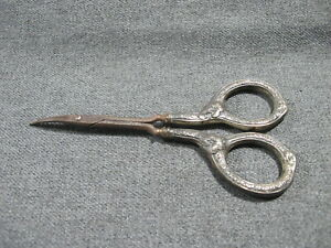 Antique Curved Blade Flowers Leaves Sterling Silver Handles Scissors #2