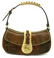 Etro Pegaso Paisley Baguette Burgundy Embossed Leather Shoulder Hand Bag Auth