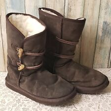 Ukala Taj low boots winter brown toggle suede merino wool size 7