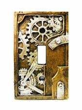 Steampunk Light Switch Plate Cover, Gray and Gold