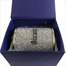 Silver Diamond Crushed Biscuit Canister Jar Tin Kitchen Storage Silver Trimmings