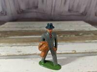 Vintage Metal Village Businessman Figure Lead Toy People Home Xmas Holiday