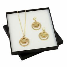 NEW Angel Coin Crystal Gold Tone Coin Earrings and Pendant Boxed Gift Set 13072