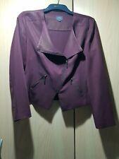 Marks And Spencer Maroon Blazer Biker Zip Jacket- Size 14