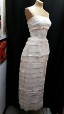 Vintage 1950's 60's Pink Lace Tulle Velvet Evening Gown Marshall Field & Co XS