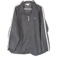 Nike Mens XL Black Jacket Windbreaker Full Zip Long Sleeve Nylon Swoosh Stripes