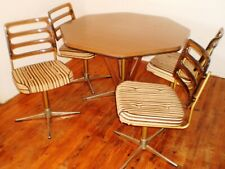 Dining Suite 6 Piece Hexagonal TABLE + 4 CHAIRS & CUPBOARD   FROM 1960's