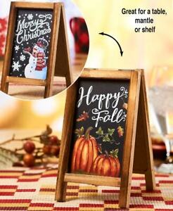 Merry Christmas and Happy Fall Wooden Double Sided Easel Sign Pumpkins Snowman