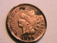 1899 Nice XF/AU Indian Head Bronze Cent Extra Fine Cleaned One Penny US Coin