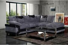 New Jumbo Dino Right Hand Corner Sofas Set Fabric Scatter Back Black And Grey,