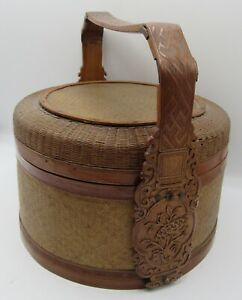 Antique Chinese finely woven basket ornately carved bamboo handle flowers