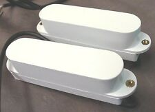NOISELESS GUITAR PICKUPS WHITE SINGLE COIL SET OF 2 no bolts or springs