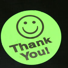 100 GREEN Smiley Thank You Stickers large 1.5 inch Round All FREE shipping