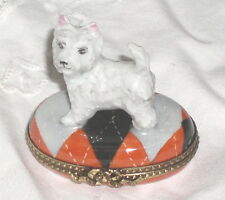 GR Limoges White West Highland Terrier Westie Standing on Oval Trinket Box