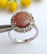 ANELLO IN ORO 18KT RODOCROSITE E DIAMANTI - 18KT SOLID GOLD RHODOCHROSITE RING