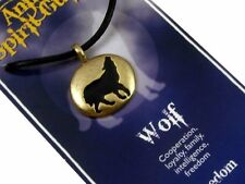 Wolf Animal Spirit Guide, Freedom & Loyalty Gold Tone Pewter Pendant #BE-8084WO