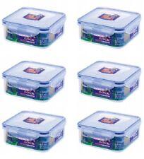 6 X LOCK & LOCK SQUARE PLASTIC FOOD STORAGE CONTAINER 870ML HPL823