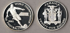 JAMAICA 25 DOLLARS WORLD CHAMPIONSHIP FOOTBALL 1990 PROOF CALCIO FONDO SPECCHIO