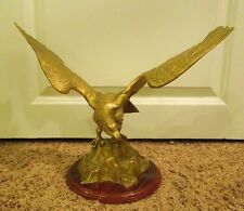 Vintage Brass Eagle Standing on Rock Statue Mounted
