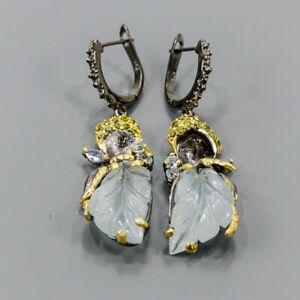Earrings jewelry Art Aquamarine Earrings Silver 925 Sterling   /E56297