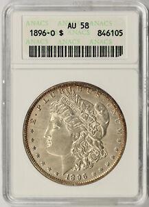 1896-O Morgan Silver $1 AU 58 ANACS Small Old Holder