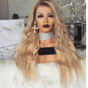 Women Synthetic Lace Front Wig Long Wavy Full Wigs Ombre Blonde Brown root Wigs