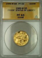 1986-W Proof Statue of Liberty Commemorative $5 Gold Coin ANACS PF-63 DCAM