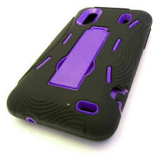 HTC Hero S Evo Design 4G Impact Hard Rubber Case Cover Kickstand Black Purple