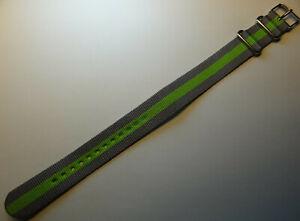 LONG EZ Pass Thru Timex Weekender ONE PIECE T7B968 20mm Watch Band Gray & Green