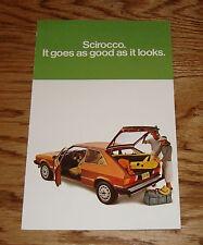 Original 1978 Volkswagen VW Scirocco Sales Folder Brochure 78
