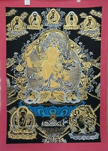 Handpainted Original Tibetan Manjushri Wenshu thangka Painting XLarge – BTMT-144