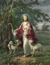 VINTAGE JESUS CHRIST GOOD SHEPHERD LAMBS SHEEP CATHOLIC RELIGIOUS CANVAS PRINT