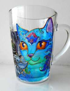 Hand painted cat mug, art coffee mug, stained glass, painting colorful cup