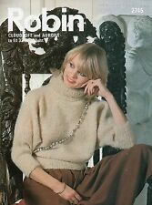~ Knitting Pattern For Lady's Mohair Polo-Neck Sweater ~