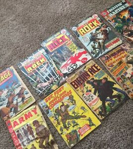 Lot of 9 comics Fighting' Marines 118 1974 SGT ROCK SGT FURY Enemy Ace Savage